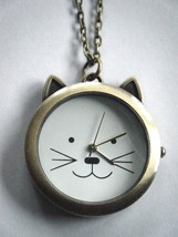 Cat Face Quartz Pocket Watch Necklace Battery Included New With Tag - $19.75
