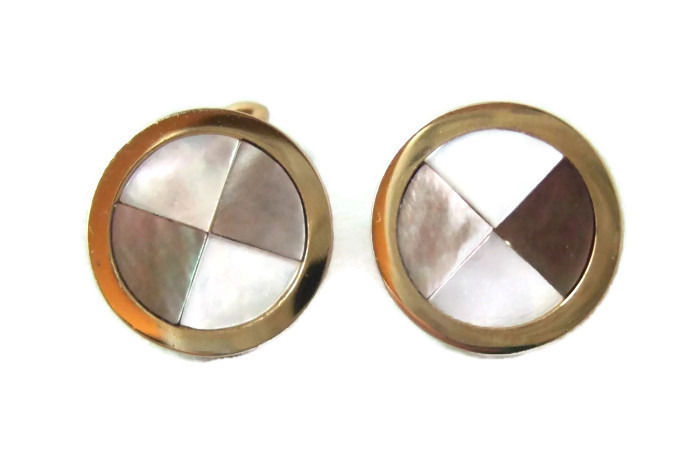 Vintage Art Deco Inlaid Mother of Pearl Cufflinks Swank
