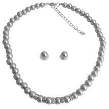 Vintage Personalized Bridal Jewelry Gray Pearl Rhinestones Gray Stud E - $21.18