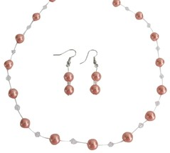 Graduation Necklace Set Prom Jewelry Orange Pearls Swarovski Clear Cry - $22.48
