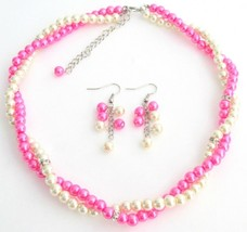 Hot pink Ivory Bridesmaid Jewelry Set Necklace Earrings Set With Rhine - $21.83