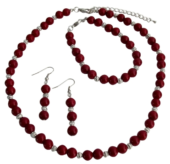 Gift Your Love On All Occasion Gift Red Pearls Silver Beads Jewelry Se
