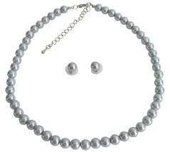 Gray Pearl Swarovski Stud Earrings Single Strand Necklae Specialize We - $15.98