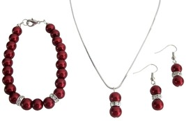 Staff Gift Holiday Time Christmas Jewelry Red Pearl Complete Jewelry S - $14.68