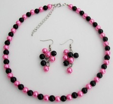 Hot Pink Black Pearl Jewelry Set Wedding Color Necklace Earrings - $12.08
