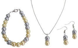 Pearl Pendant Earrings Drop Down Set In Yellow Gray Pearl Holiday Gift - $14.68