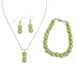 Olive Green Pearl Jewelry Necklace Earrings Bracelet Drop Pearl Pendan - $14.68