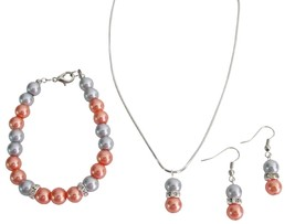 Prom Complete Jewelry Orange Gray Pearl Drop Down Pendant Earrings Set - $14.68