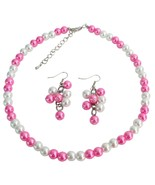 Wedding Jewelry In White Hot Pink Cluster Jewelry Cluster Earrings Set - $12.08