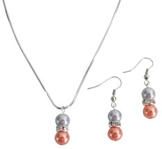 Pearl Drop Down Pendant Earrings Set Orange Gray Pearl Jewelry - $10.13