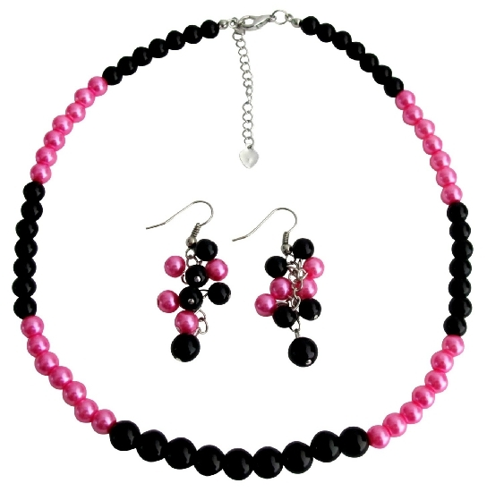 Black Fuchsia Cluster Earrings Necklace Fashionable Bright Wedding Jew - $12.08