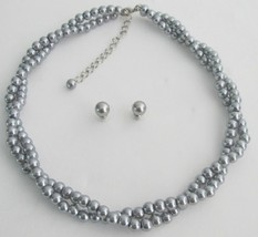 Twisted Gray Pearl Wedding Statement Necklace Bridal Jewelry - $23.78