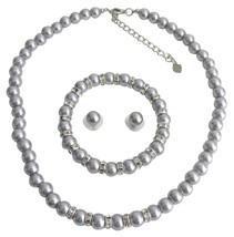 Silver Pearl Wedding Jewelry Necklace Stud Earrings Stretchable Bracel - $25.73