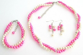 Ivory Hot Pink Two Strand Twisted Bridal Complete Sets Special Occasio - $33.53