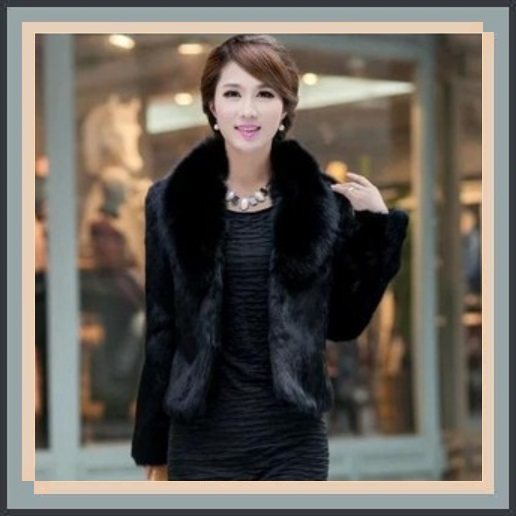 Luxurious Black Mink Hair Faux Fur Jacket Wide Collar Short Waist Coat