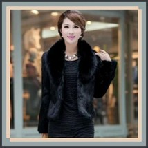 Luxurious Black Mink Hair Faux Fur Jacket Wide Collar Short Waist Coat  image 1