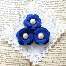 3 Dark Blue Felt Flower with Pearl,Wool Felt Flower,Headband Making,Pear... - $7.50