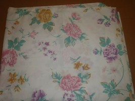 Cannon Vintage Queen Flat Sheet Floral No Iron Percale - $18.69