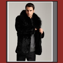 Men's Warm Long Mink Faux Fur Winter Coat With Long Hair Fox Faux Fur Big Collar