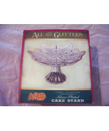 All That Glitters Cracker Barrel Silver Plated Holiday Cake Stand Tinsel... - $9.99
