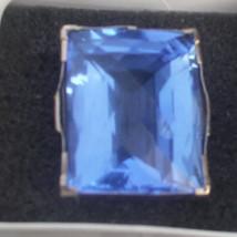 Estate Huge Custom 100 carat Blue  Quartz 14k yellow gold & SS ring Sz 6.35 - $1,699.99