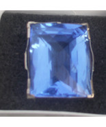 Estate Huge Custom 100 carat Blue  Quartz 14k yellow gold & SS ring Sz 6.35 - $1,699.99