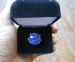 Huge 35 carat Blue Tanzanite Cabochon .5 carat diamond 14k white gold ri... - $7,699.99