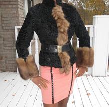 New Designer Russian Sable & Black broadtail Fur Coat jacket bolero XS-S 0-4 - $1,999.99