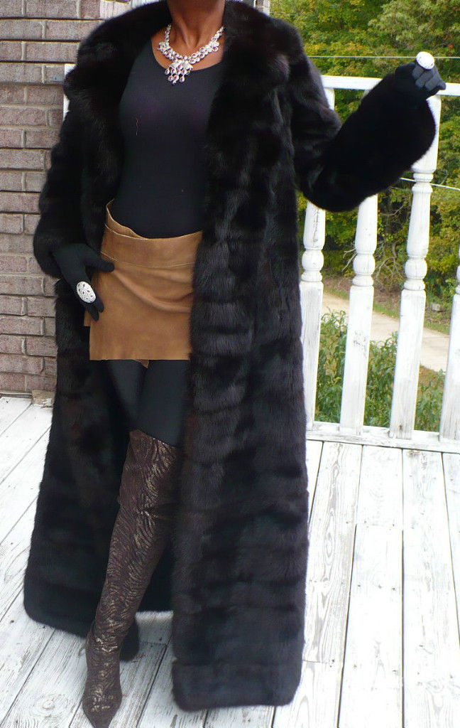 MInt Elegant Young Extra long Full length genuine Russian Sable Fur Coat S 2-8