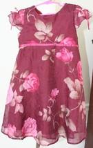 BISCOTTI COLLEZIONI Burgundy Floral Fancy Dress Girls Size 4 EUC - $14.84