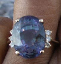 Huge AAA Flawless 11.12 ct Blue Tanzanite Solitaire 14k gold & diamond r... - $9,999.99