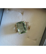 Flawless 11.97 carat Rare Blue green Aquamarine & Diamond 14k yellow gol... - $3,699.99
