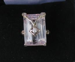 Unique Designer Estate 21.31 carat Kunzite & diamond 14k White gold ring... - $2,299.99