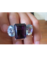Huge Custom 42.5 carats Aquamarine Diamond & amethyst 14k gold two finge... - $8,999.99