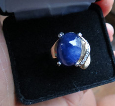 Huge 15.24 carat Sapphire Cabochon 0.4 carat diamond 14k yellow gold rin... - $4,999.99
