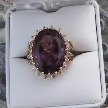 Estate Huge over 40 carat total Estate Diamond & amethyst 14k gold ring ... - $6,999.99