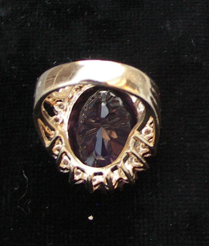 Estate Huge over 40 carat total Estate Diamond & amethyst 14k gold ring 6.65