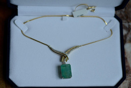 New Estate 24.72 Ct  Natural Colombian Emerald 14k gold  drop pendant ne... - $12,999.99