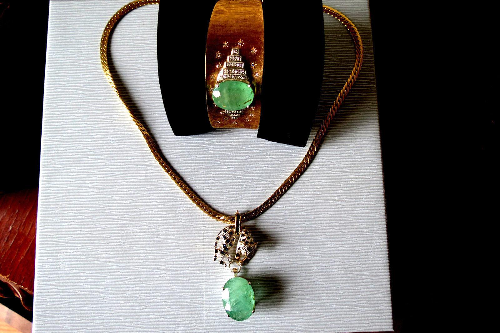 New Estate Huge 14k  gold sapphire diamond tiger & 25.71 carat emerald necklace