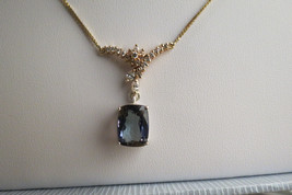 Flawless Huge 8.3 ct Natural Tanzanite & diamond 18k gold drop pendant N... - $7,999.99