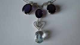 Estate Custom 78 ct blue Aquamarine Amethyst &1.2 ct Diamond 18k gold ne... - $9,999.99