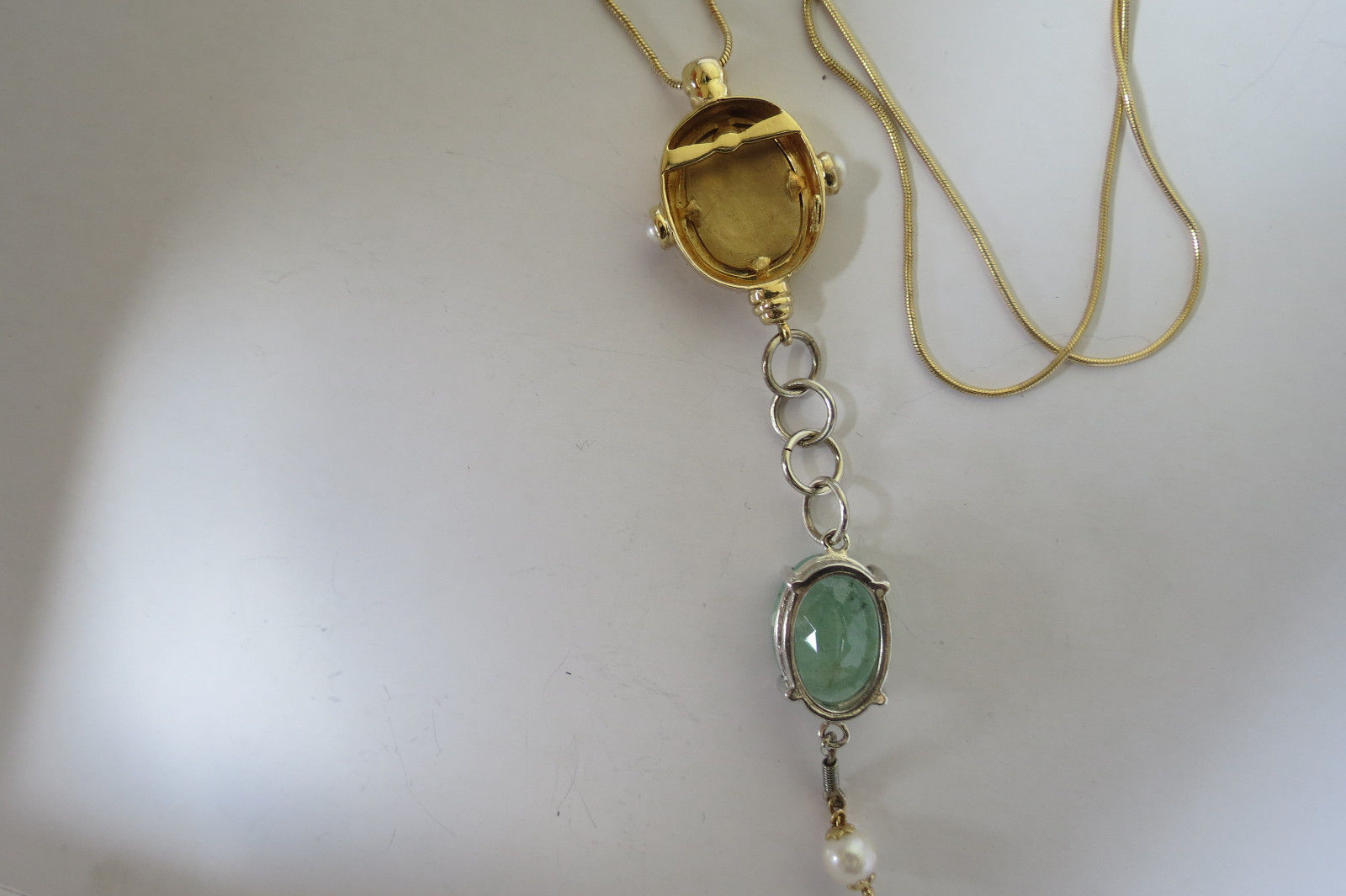 Estate Unique long 14k yellow gold & 9.3 carat Emerald  pearl drop necklace