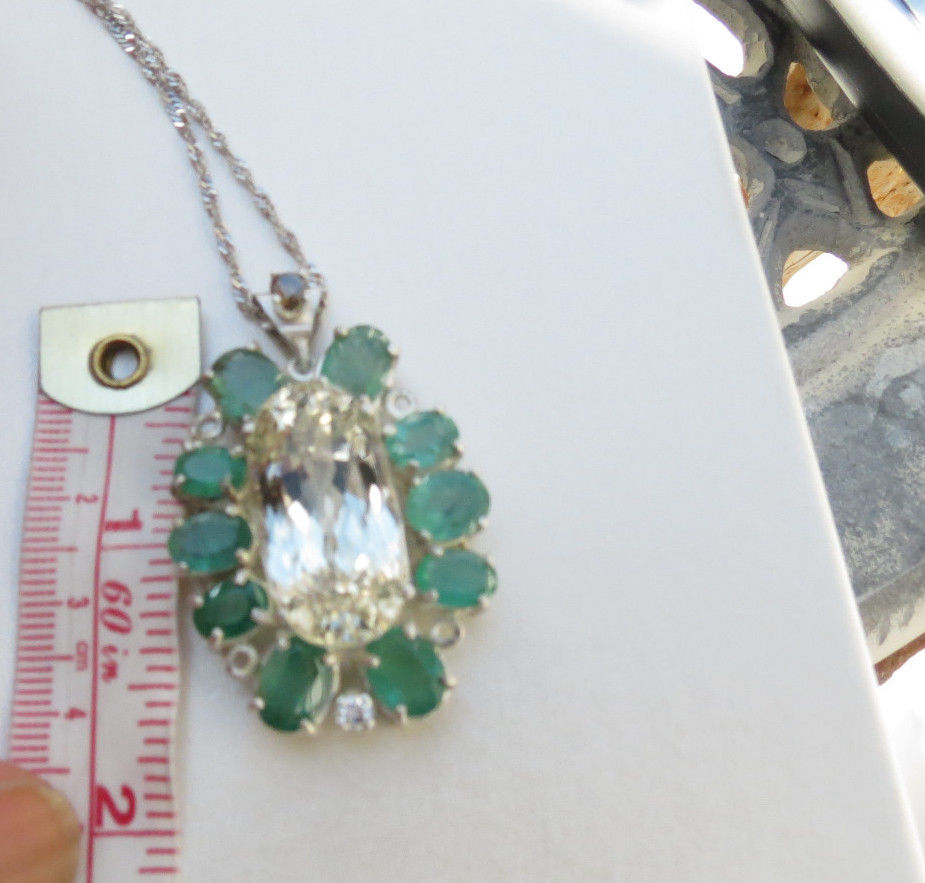 Huge 42.6 carat Yellow Kunzite Emerald Diamond platinum 18k gold and SS necklace