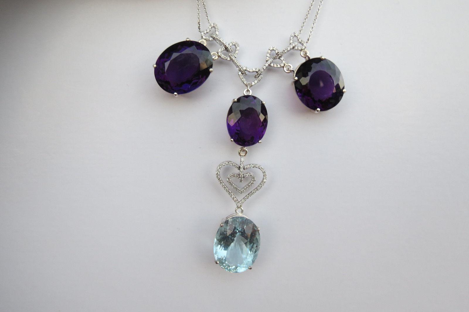 Estate Custom 78 ct blue Aquamarine Amethyst &1.2 ct Diamond 18k gold necklace