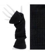 Elbow Length Fingerless Gloves Mitten Finger Cover Black Driving Texting - $19.79