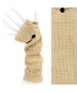 Elbow Length Fingerless Gloves Mitten Finger Cover Beige - $19.79