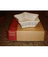 Longaberger Pottery Traditional Holly Star Dish, Christmas, MIB - $29.99