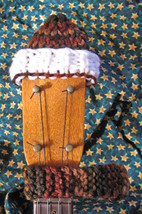 Headstock Hat n Scarf Set For Your Soprano Sized Ukulele/White Brim/Browns - $6.99