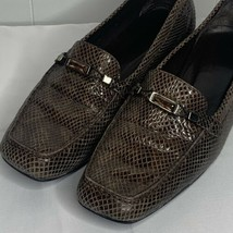 Womens Size 12 M Stuart Weitzman Brown Snakeskin Jeweled Slip On Loafers Shoes - $49.47