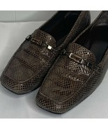 Womens Size 12 M Stuart Weitzman Brown Snakeskin Jeweled Slip On Loafers... - $49.47
